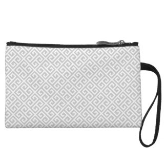 Grey & White Greek Key Clutch Wristlet Clutches