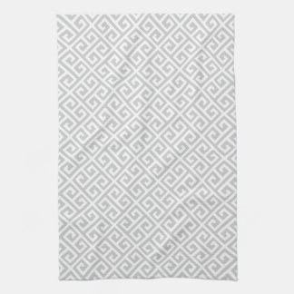 Grey & White Greek Key Pattern Tea Towel