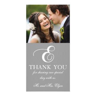 Grey White Initial E Wedding Thank You Photo Card