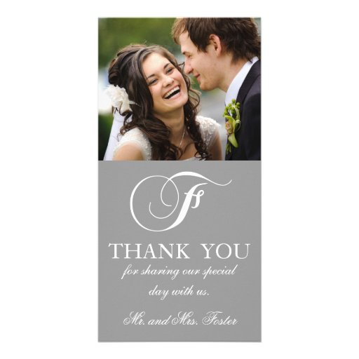Grey White Initial F Wedding Thank You Photo Card