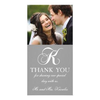 Grey White Initial K Wedding Thank You Photo Card