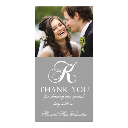Grey White Initial K Wedding Thank You Photo Card