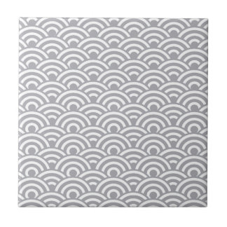 Grey White Japanese Wave Pattern Small Square Tile