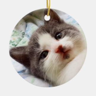 Grey & White Kitten Ornament