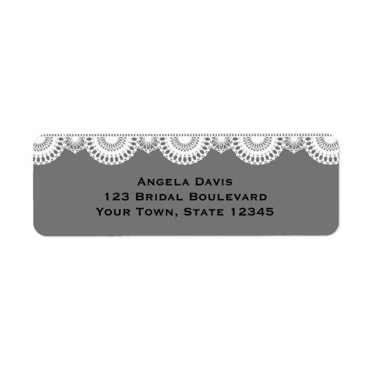 Grey, White Lace Return Address Label