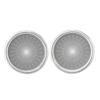 Grey White Lace Roundel Lacy Pattern Gray Cufflinks