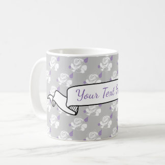 Grey White Lavender Rose Floral Banner Name Coffee Mug