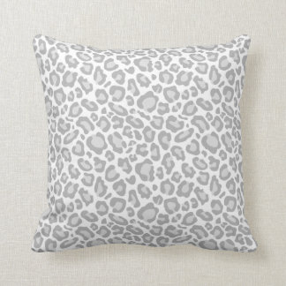 Grey White Leopard Print Cushion