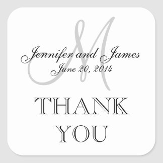 Grey White Monogram Square Wedding Label Square Sticker