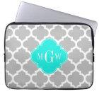 Grey White Moroccan #5 Brt Aqua 3 Initial Monogram Laptop Sleeve
