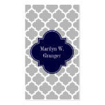 Grey White Moroccan #5 Navy Blue Name Monogram Pack Of Standard Business Cards