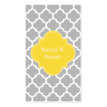 Grey White Moroccan #5 Pineapple Name Monogram Pack Of Standard Business Cards