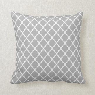 Grey, White Moroccan Quatrefoil Pattern Pillow