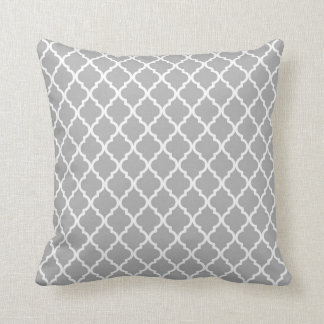 Grey, White Moroccan Quatrefoil Pattern Pillow