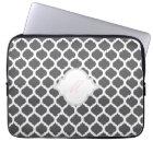 Grey & White Moroccan with Monogram Laptop Sleeve