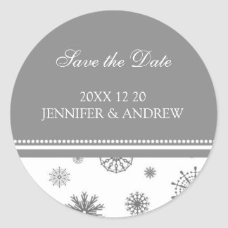 Grey White Save the Date Winter Wedding Stickers