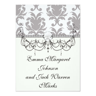 grey white silver baroque damask personalized invite