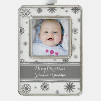 Grey White Snow Grandparents Christmas Ornament