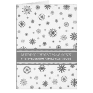 Grey White Snowflakes Christmas We've Moved Card