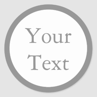 Grey & White Stickers or Labels w/ Custom Text