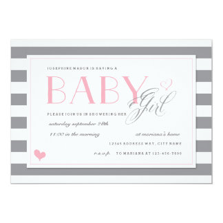 Grey & White Stripe Baby Shower Light Pink Accents 13 Cm X 18 Cm Invitation Card