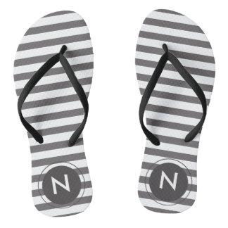 Grey & white striped Monogrammed Flip flops