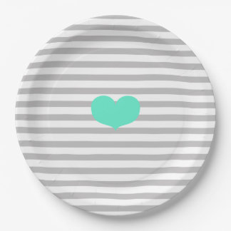 Grey & white stripes and teal heart - Paper Plates 9 Inch Paper Plate