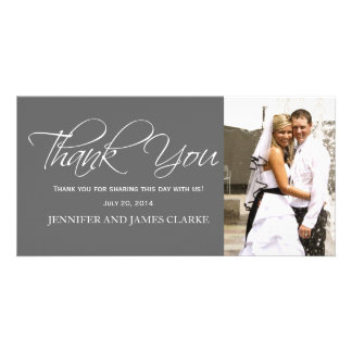 Grey White Wedding Thank You Photo Cards