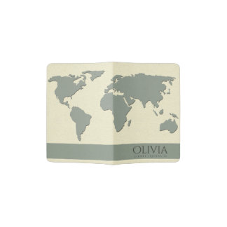 GREY WHITE WORLD MAP EARTH LEATHER MONOGRAM PASSPORT HOLDER
