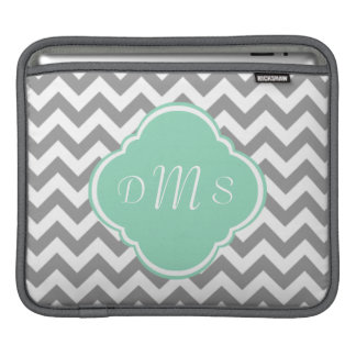 Grey & White Zigzag Custom Monogram iPad Sleeves