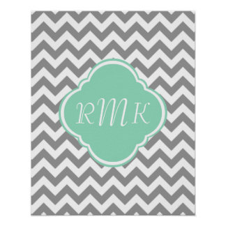 Grey White Zigzag Custom Monogram Print