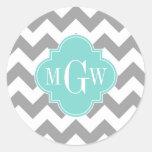 Grey Wht Chevron Aqua Quatrefoil 3 Monogram Round Sticker