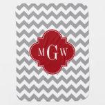 Grey Wht Chevron Cranberry Quatrefoil 3 Monogram Swaddle Blankets