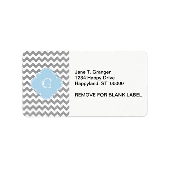 Grey Wht Chevron Lt Blue Quatrefoil Monogram Address Label