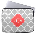 Grey Wht Moroccan #5 Coral Red 3 Initial Monogram Laptop Sleeve