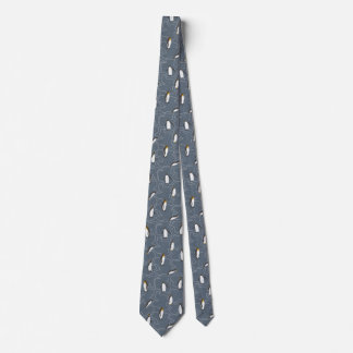 Grey Winter Tie with cute little Penguins