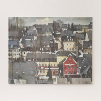 Grey Winter Village and One Red House Digital Oil Jigsaw Puzzle