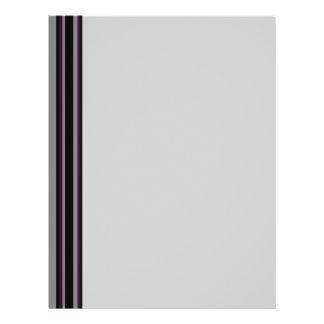 grey with purple black stripes 21.5 cm x 28 cm flyer