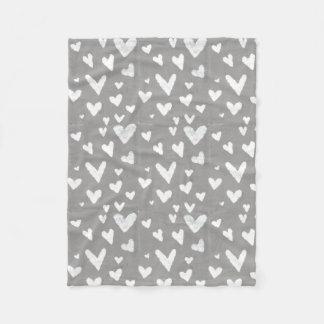 Grey with White Hearts Fleece Blanket