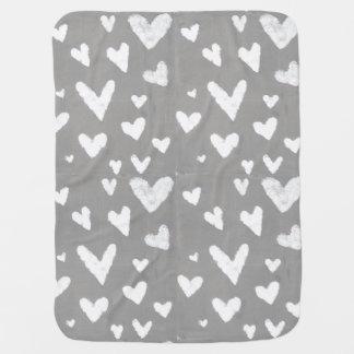 Grey with White Hearts, Original Design Art Baby Blanket