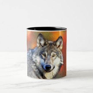 Grey Wolf Art Painting Two-Tone Coffee Mug
