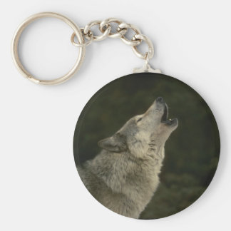Grey Wolf Basic Round Button Key Ring