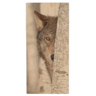 Grey Wolf (Canis lupus) Behind Tree Wood USB 2.0 Flash Drive