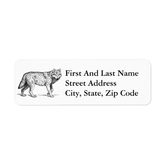 Grey Wolf Elegant Ink Drawing Return Address Label