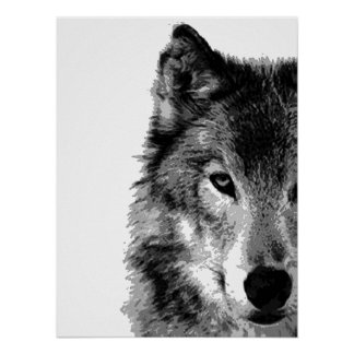 Grey Wolf Eye Artwork Poster Print