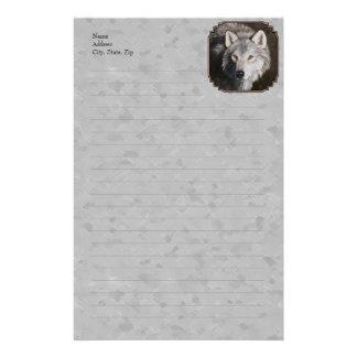 Grey Wolf Face Custom Stationery
