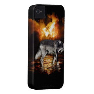 Grey Wolf Fire Flames Survivor iPhone Case iPhone 4 Covers