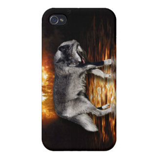 Grey Wolf Fire Flames Survivor iPhone Case Case For iPhone 4