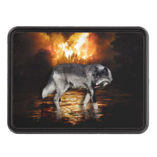Grey Wolf Fire Flames Survivor Tow Hitch Cover