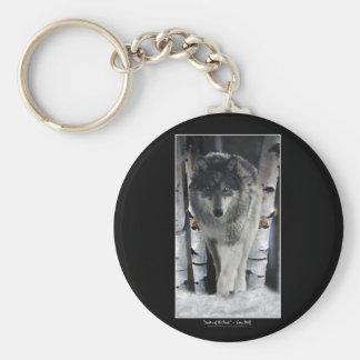 Grey Wolf & Forest Snow Key Ring